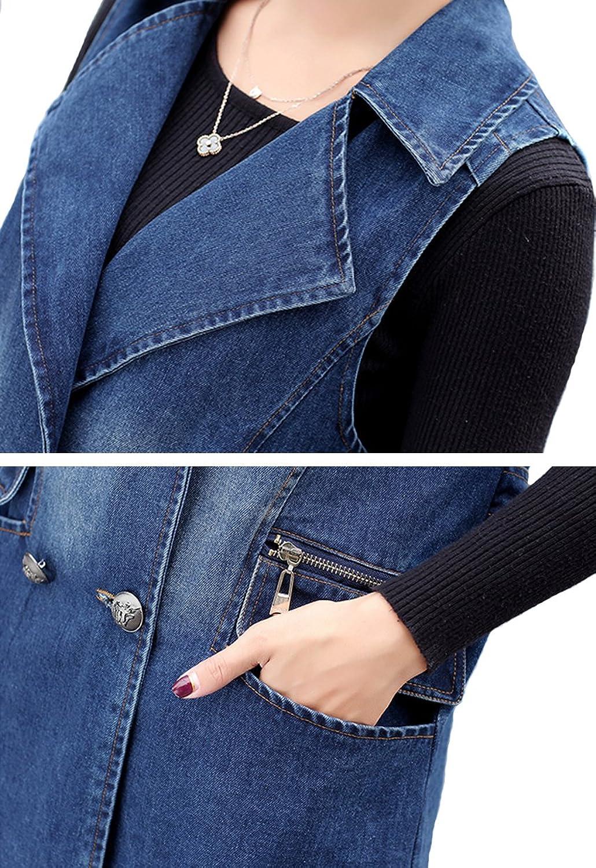 Gihuo Women's Casual Lapel Button Font Long Denim Vest Sleeveless Jean  Jacket (Medium, Blue): Amazon.ca: Clothing & Accessories