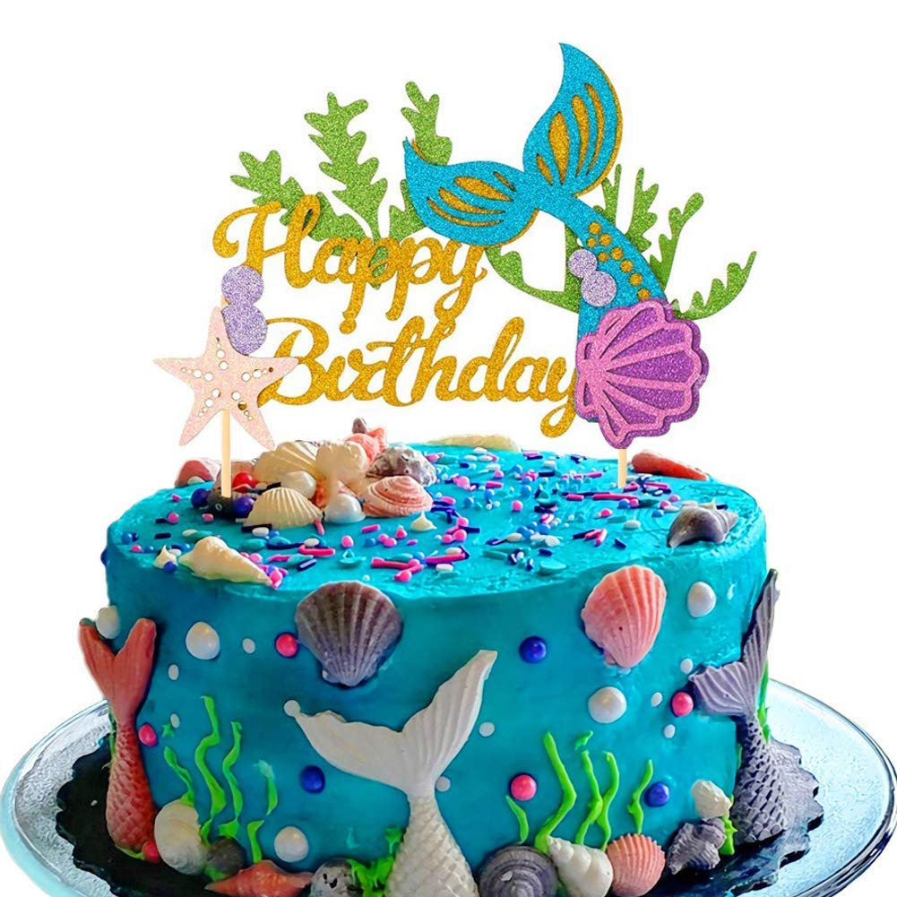Foni Glitter Mermaid Birthday Cake Topper - Happy Birthday Cake Decoration for Under The Sea Themed Baby Shower Birthday Party Supplies