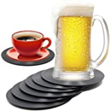 COLIBROX Set of 6 Colorful Retro Vinyl Record Disk Coaster for Drinks with Funny Labels - Desktop Protection Prevents Furnitu