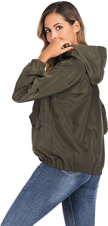 Enjoyoself Donna Giacca Antipioggia con Cappuccio Manica Lunga Cappotto Corto Impermeabile Giubbino a Vento Giubbotto Casual