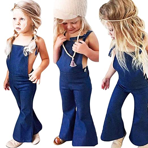 7b0603b5a Amazon.com  XEDUO Baby Girls Sleeveless Backless Strap Denim Overall ...