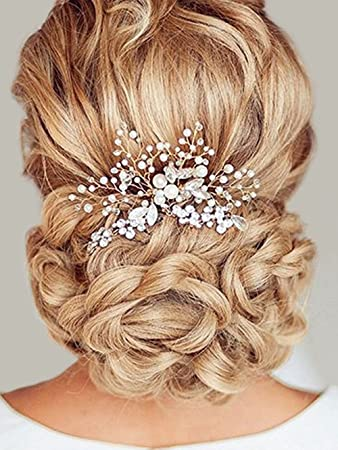 f95311aff74c8 Amazon.com : Unicra Wedding Hair Combs Hair Accessories with Bead and  Rhinestones for Women (Silver) : Beauty