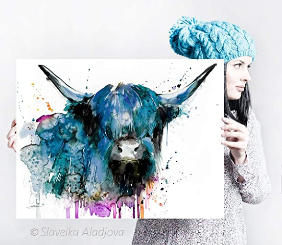 Amazon Com Highland Cow Cattle Watercolor Painting Print By