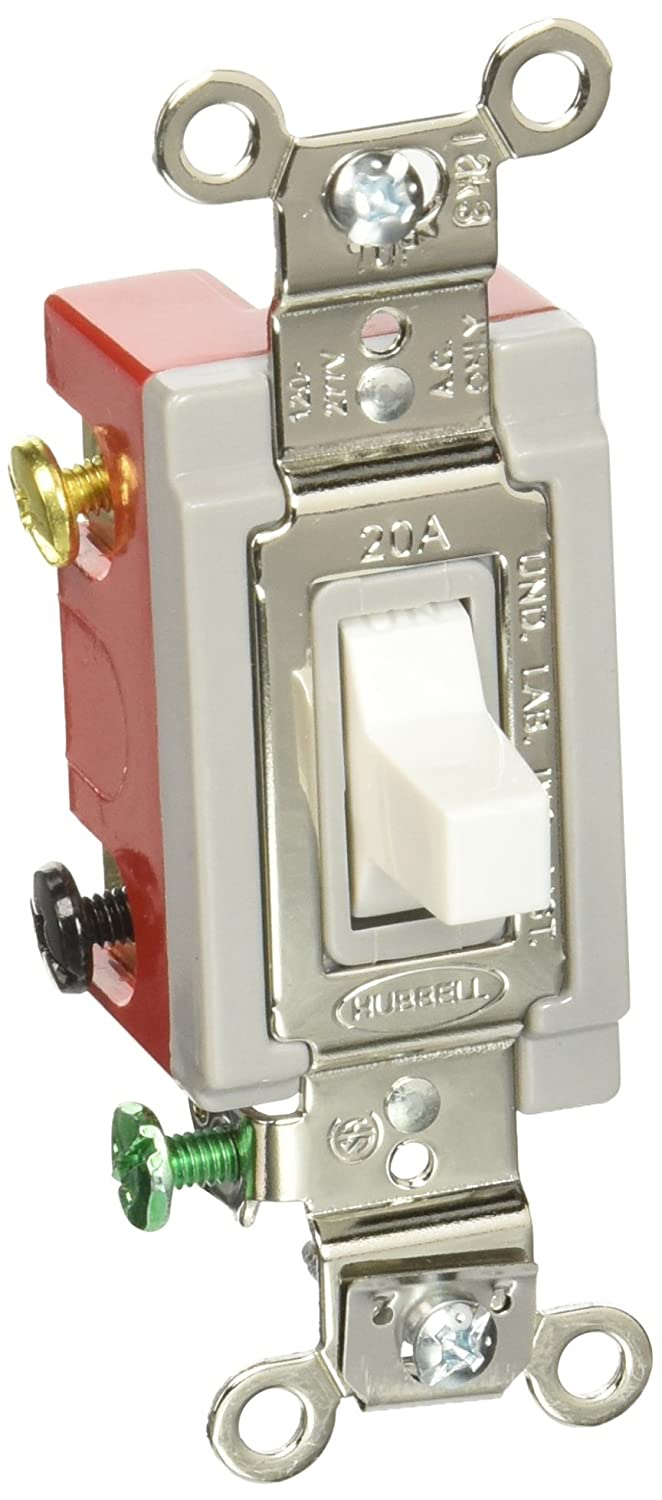 Hubbell Wiring Device-Kellems HBL1557W Wall Switch, 20A, White, 3-Position, on leviton 3 way switch, pass & seymour 3 way switch, bridgeport 3 way switch, eagle 3 way switch, lutron 3 way switch, changing 3-way light switch, cooper 3 way switch, legrand 3 way switch,