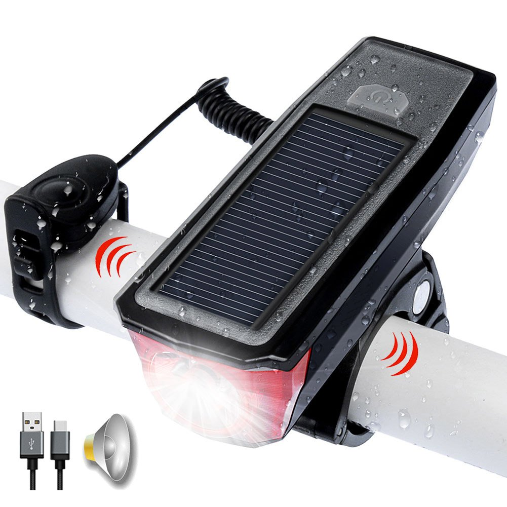 USB Rechargeable Bike Front Light, Solar Powered, and Bell Horn, All in one design, 350 Lumens Bicycle Headlight LED. Waterproof, USB Output Charge your Mobile, Road Cycling Safety Commuter Flashlight