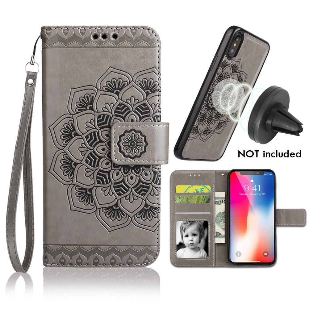 iPhone X/XS Case,iPhone X/XS Wallet Case with Detachable Slim Case,Card Solt Holder,Fit Car Mount,CASEOWL Mandala Flower Floral Embossed Leather Flip Lanyard Wallet Case for iPhone X/XS/10/10S[Gray]