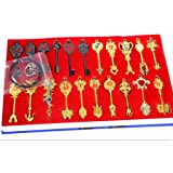 Rulercosplay Fairy Tail Lucy New Collection Set of 24 Golden Zodiac Keys + Chain