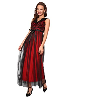 1d02964e205 KRISP® Women Ladies Lace V Neck Sleeveless Cocktail Party Long Maxi Dress  Evening Gown  Amazon.co.uk  Clothing