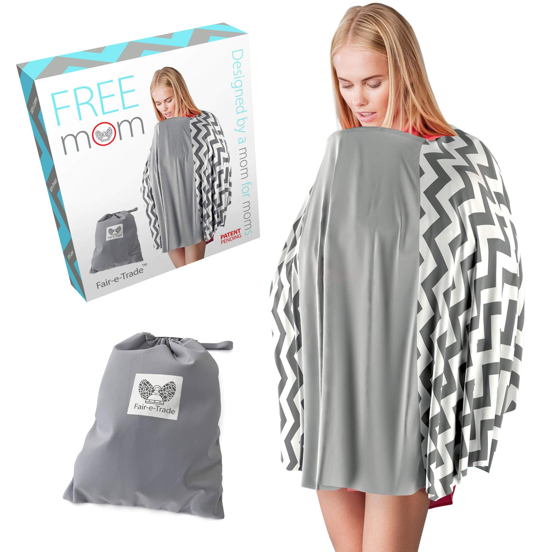 New Nursing Cover Poncho Style - Rigid Neckline Breastfeeding Cover w/Carry Bag - Covers Fully-100% Soft Breathable Cotton to Fit All for Discreet Feeding in Public. Bonus Soft Muslin Baby Washcloth