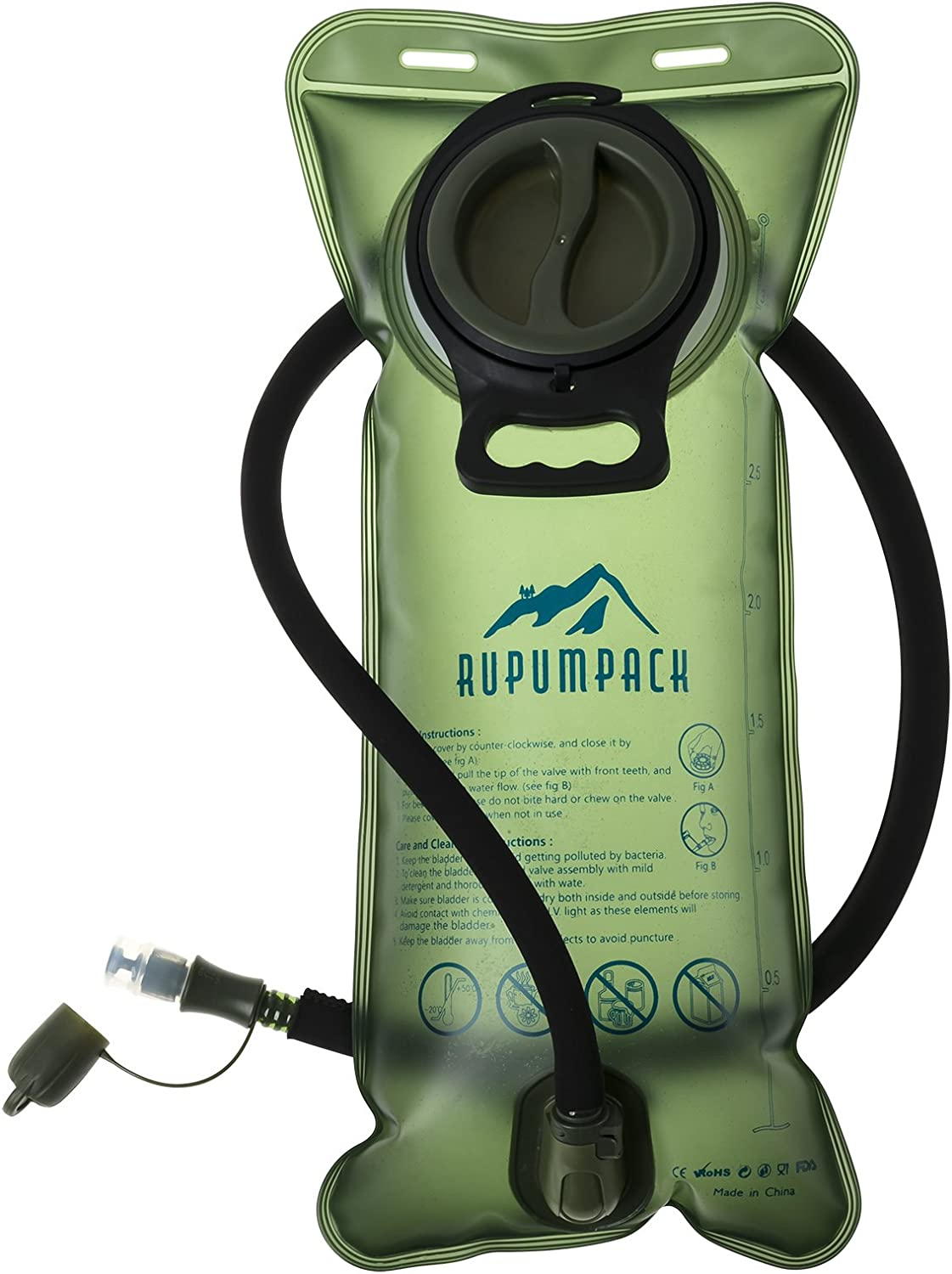 RUPUMPACK Water Bladder Hydration Pack 2L-70oz 2.5L-85oz 3L-100oz Leakproof Tasteless BPA Free Water Reservoirs Replacement for Camping Hiking Climbing Running Biking Outdoor Backpack