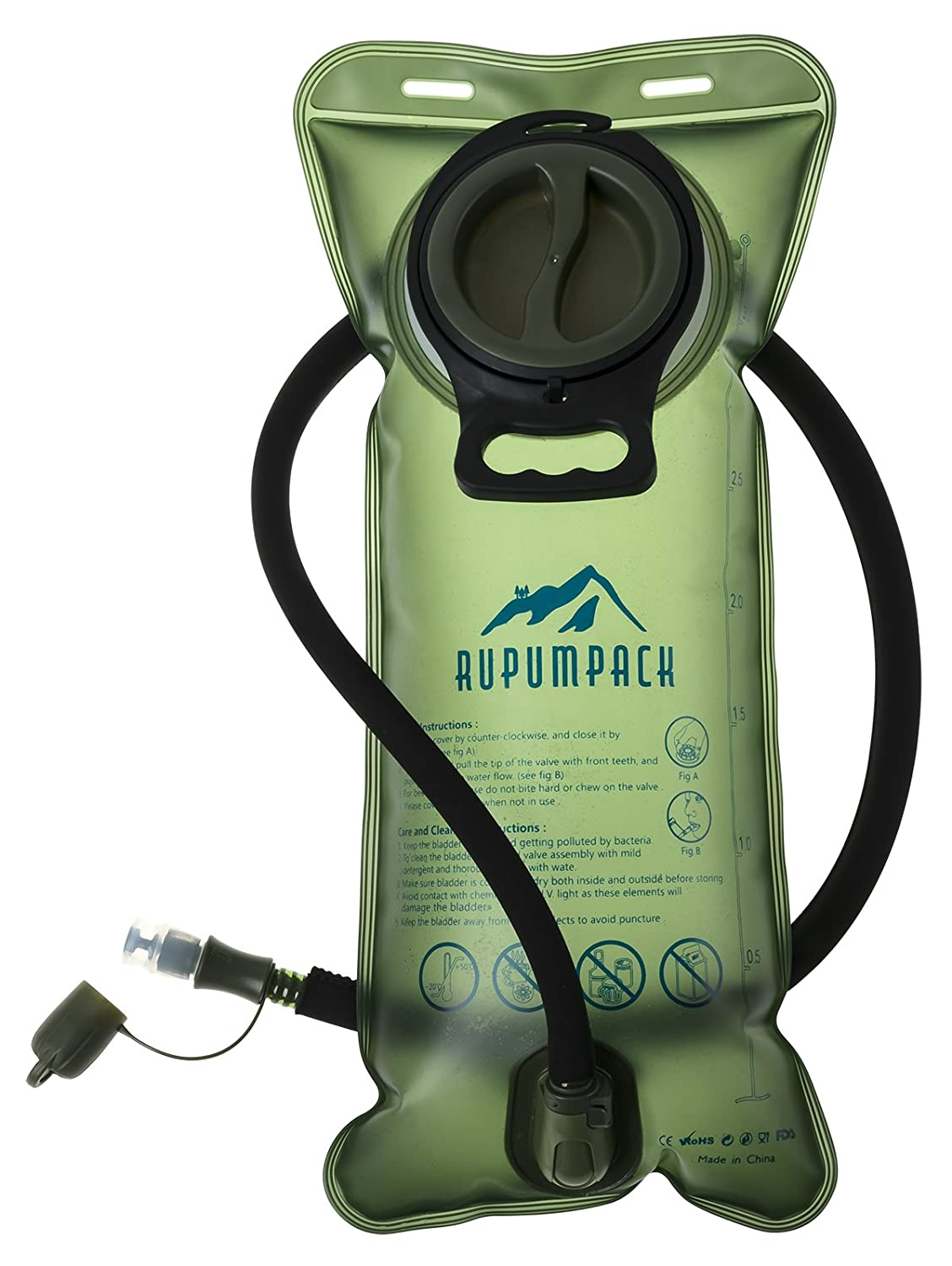 RUPUMPACK Water Bladder Leak Proof BPA Free Hydration Bladder 3 Liter 3L 100oz Bicycling Hiking Camping Backpack/Gear, Quick Release Insulated Tube, Non Toxic Easy Clean Wide Opening …