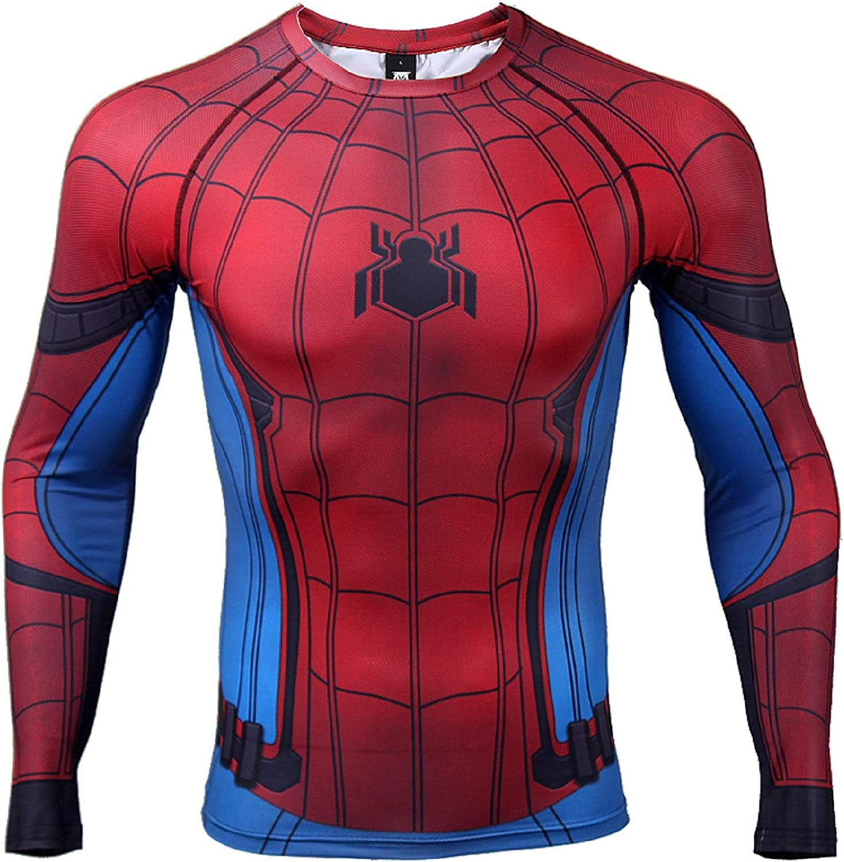 Civil War Long Sleeve Spiderman Compression Shirt 3D Print Men's Gym Top