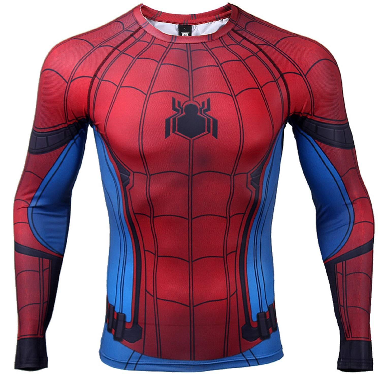 7da485fb Civil War Long Sleeve Spiderman Compression Shirt 3D Print Men's Gym Top |  Amazon.com