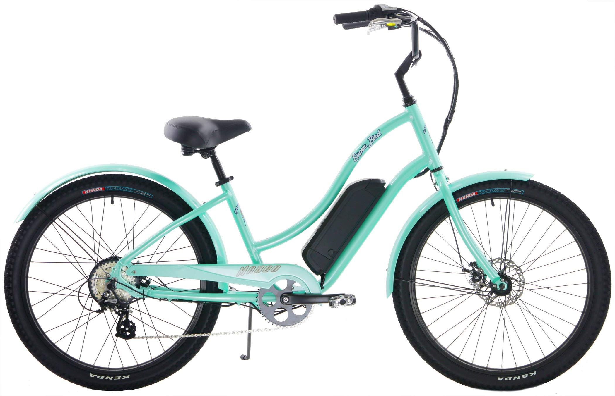 Quality Mango Superbird 8 Speed eBike Cruiser Aluminum 250w Electric Bicycle with Disc Brakes (Seafoam Green, Ladies)