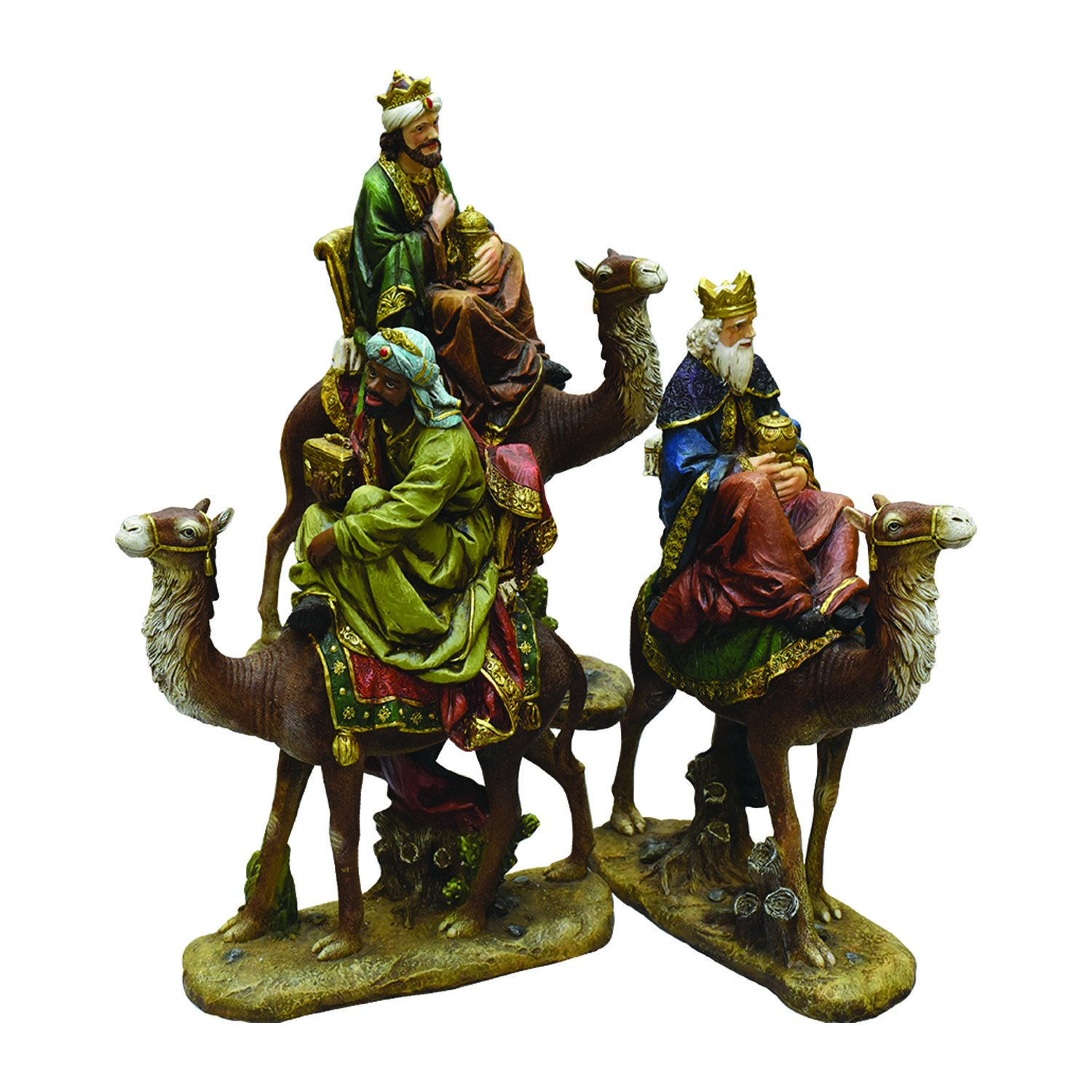 Northlight 3-Piece Religious Three Kings on Animals Christmas Nativity Table Top Figurines 18''