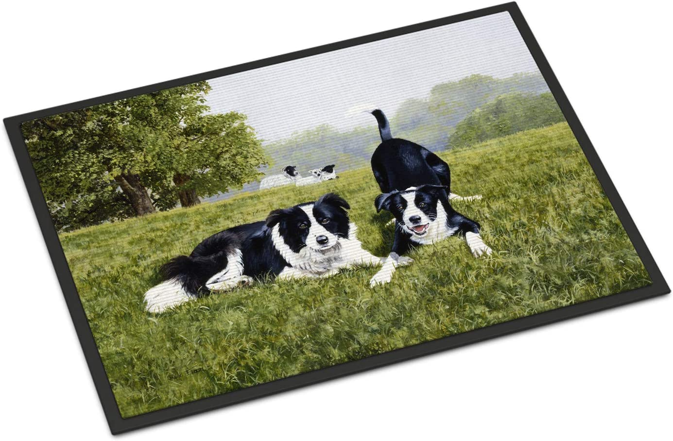 Caroline s Treasures FRF0014MAT Let s Play Border Collie Indoor or Outdoor Mat 18×27, 18H X 27W, Multicolor
