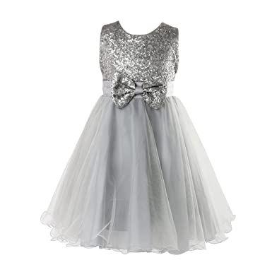 Discoball Girls Sequin Bow Tulle Dress Pageant Wedding Bridesmaid Christening Party Prom Dress 5-Layer