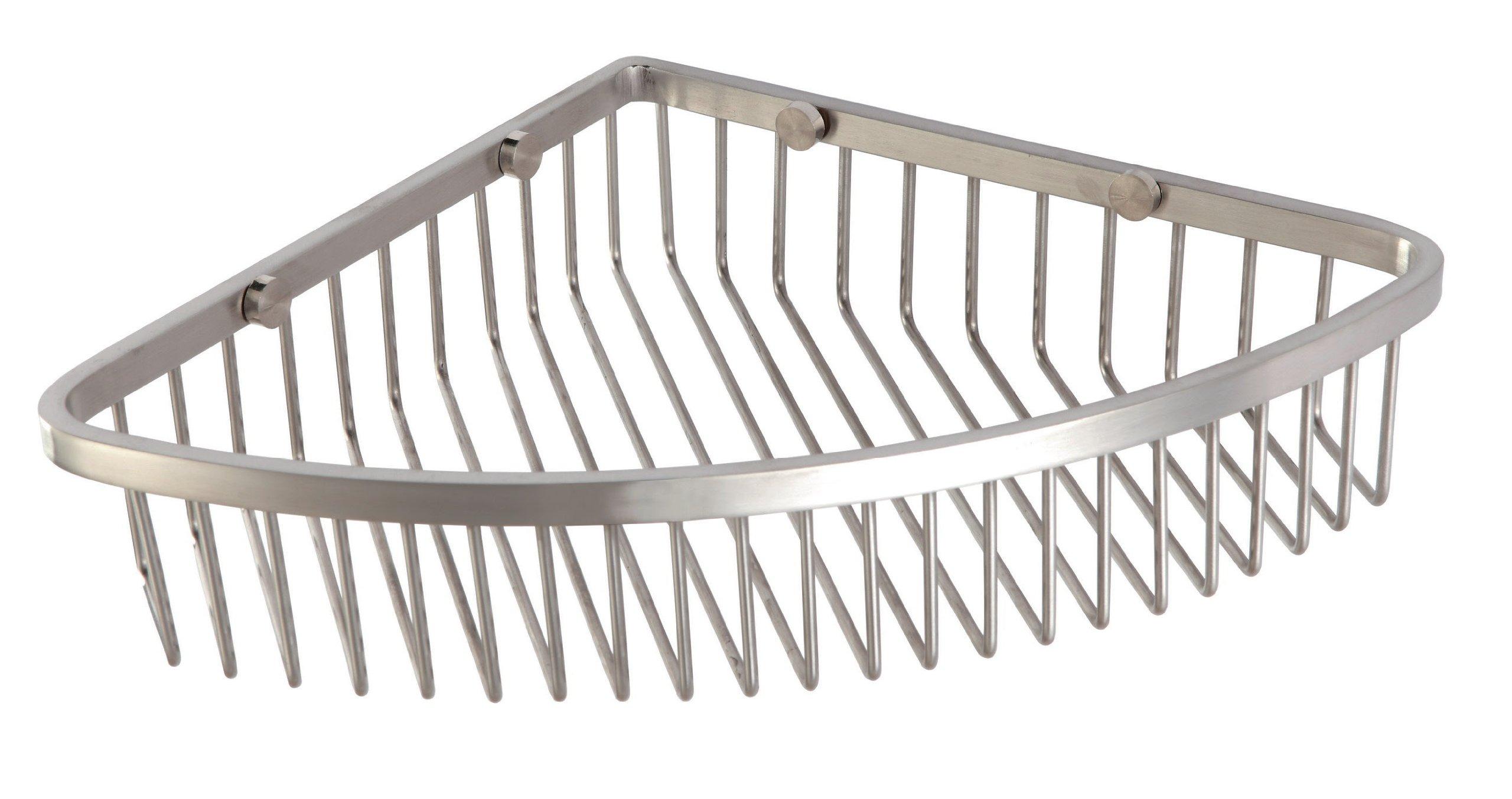 Corner Shower Caddy - Stainless Steel Bathroom Wall Mounted Storage - Brushed Nickel