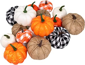 Ueerdand 16 PCS Fall Decor Artificial Pumpkins Harvest Burlap Bufflo Plaid Pumpkins Craft for Fall Autumn Season Halloween Thanksgiving Holiday Season Festive Embellishing and Displaying