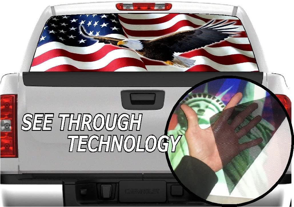 American Flag Eagle Rear Window Windshield Graphic Decal Wrap Back For Pickup