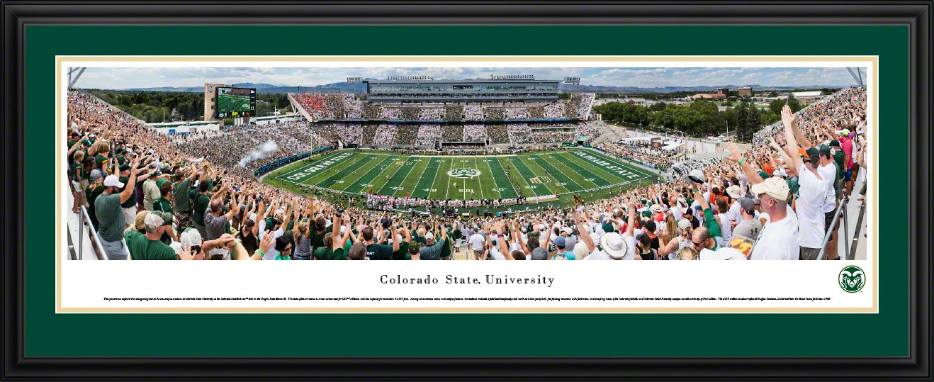 Colorado State Rams Football - Blakeway Panoramas College Poster with Deluxe Frame and Double Mat