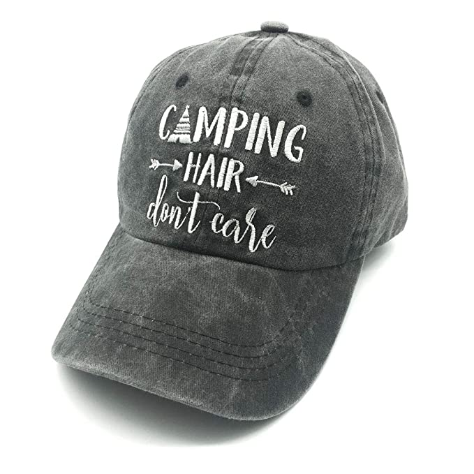 e44b50d0ffb02 Waldeal Embroidered Camping Hair Don t Care Vintage Washed Cotton Low  Profile Adjustable Dad Hat
