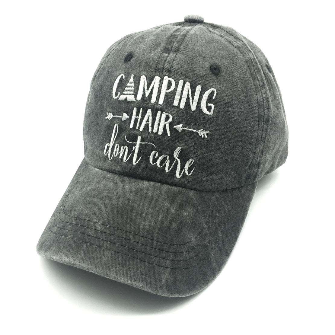 Waldeal Embroidered Camping Hair Don't Care Vintage Washed Cotton Low Profile Adjustable Dad Hat Black