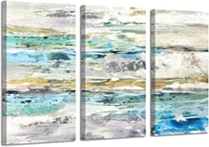 Abstract Seascape Canvas Wall Art: Painting with Silver Foil Picture Print on Canvas for Living Room (26'' x 16'' x 3 Panels)
