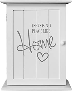 Wohaga® Armario para llaves (Box colgador para llaves (pared armario – There is no place like home, 22 x 29 x 8 cm, con 6 llaves Ganchos, color blanco: Amazon.es: Bricolaje y herramientas