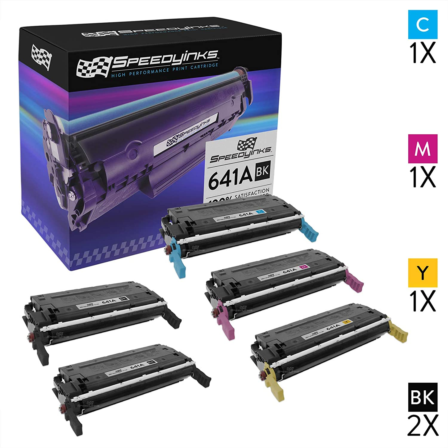 Speedy Inks Remanufactured Toner Cartridge Replacement for HP 641A (2 Black, 1 Cyan, 1 Magenta, 1 Yellow, 5-Pack)