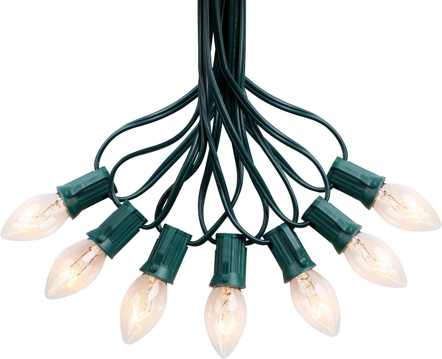50FT C7 String Lights Outdoor UL Listed Hanging Lights for Christmas Garden Patio Backyard Cafe Party Room Decoration, Green Wire, 50 Bulbs