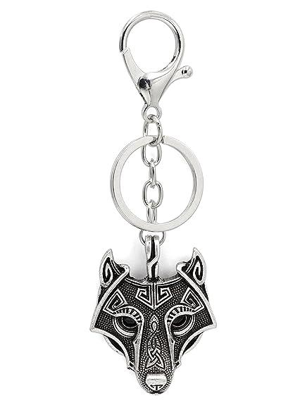 Vikingo Odin Wolf colgante llave llavero llavero negro ónix ojos antiguos plata metal escandinavo nudo Raven MJOLNIR nórdico céltico runas nórdicas ...