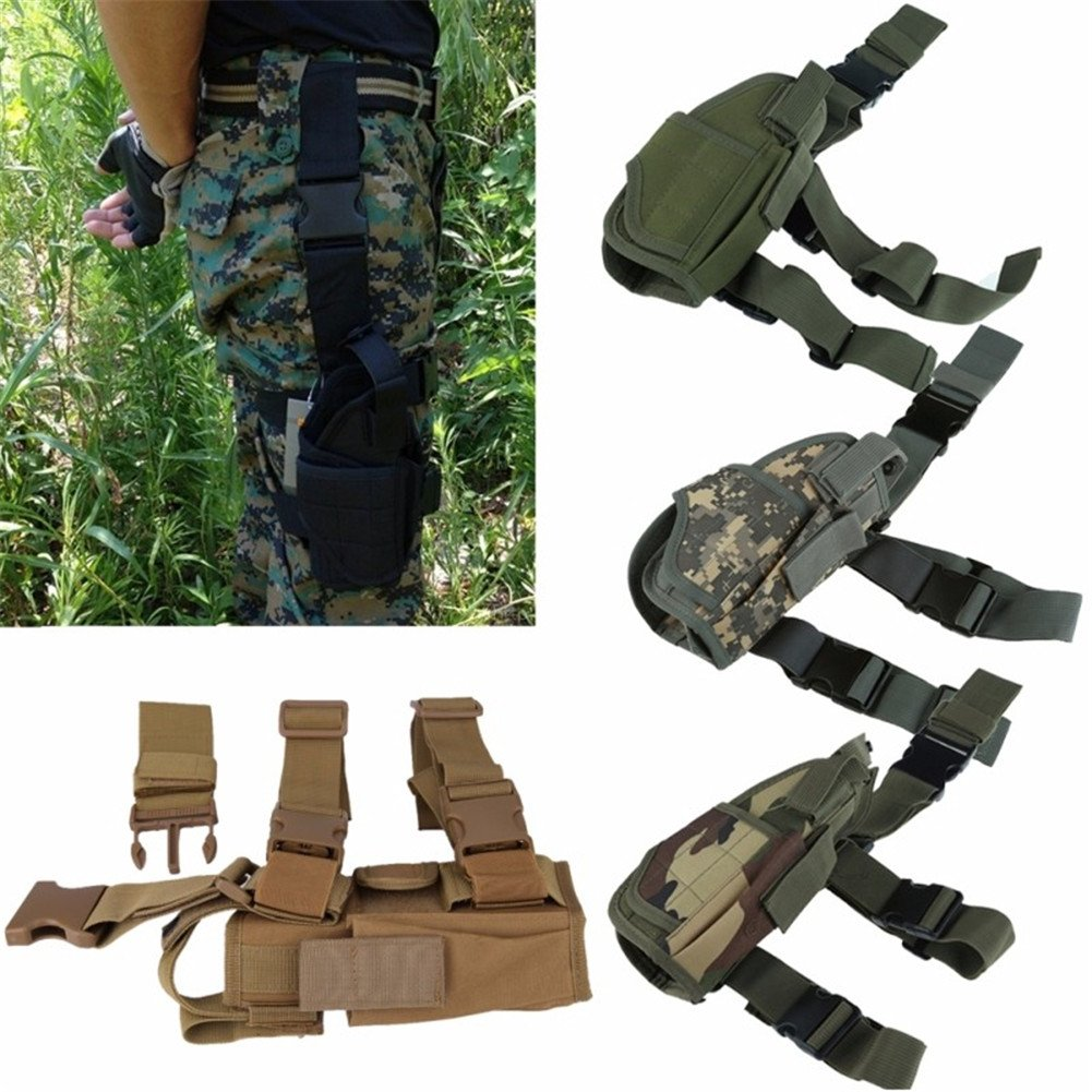 VAlink Adjustable Tactical Pistol Holster Holders, Drop Leg Thigh Gun Holster, Pistol Cases Rifle Cases Rest, Ammo Magazine Bag Pouch Right Hand Outdoor Tactical Military Airsoft Gun Belts Holsters