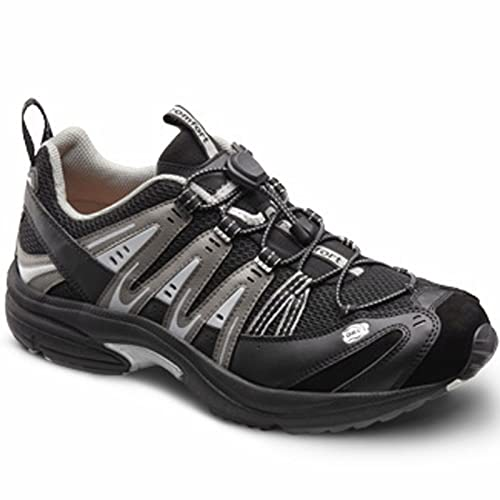 Dr Comfort Men's Performance X Black Grey Diabetic Athletic Shoes B01M2TSEBA
