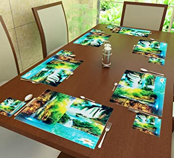 Home Candy PVC 6-Piece Placemat and 6-Piece Coaster Set - Multicolour Place Mats at amazon