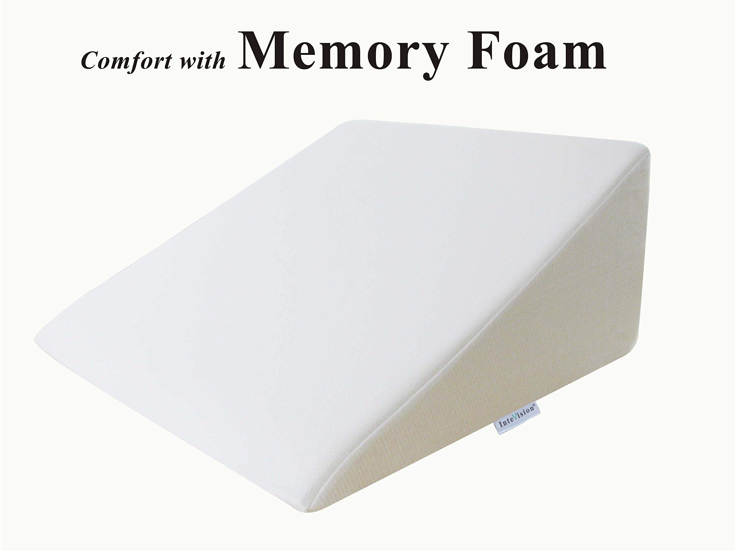 InteVision Foam Wedge Bed Pillow (25'' x 24'' x 12'') with High Quality, Removable Cover