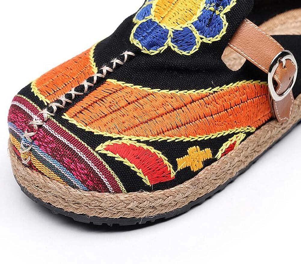 MYI Flache Bestickte Schuhe der Frauen alte alte alte Peking-Schuhe Frühling und Sommer-Hanf-SonnenBlaume-Gurt-Schnalle Baotou Antike Schuhe Größe 35-40 B07C7WWDXJ Kletterschuhe Bestätigungsfeedback bea67a