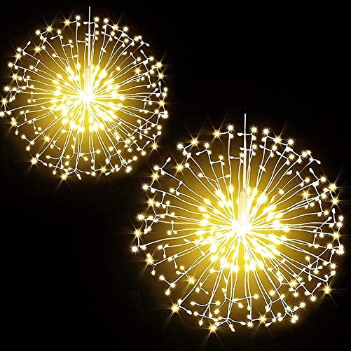 Dandelion Fairy Firework String Lights, 200 LED 8 Modes Dimmable String Fairy Lights with Remote Control,Waterproof Copper Wire Decorative Hanging Starburst Lights for Christmas Decoration