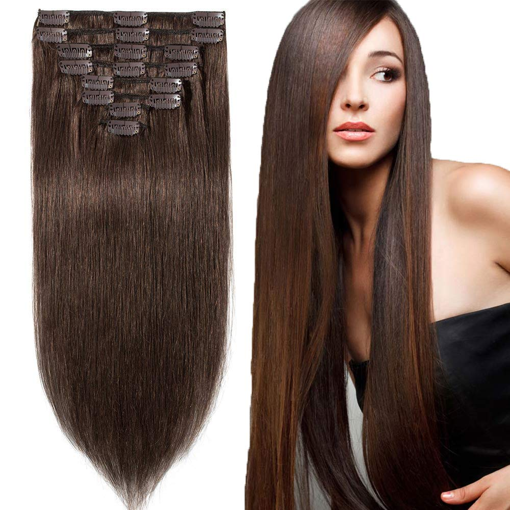 Amazon Human Hair Extensions Clip In Dark Brown To Blonde