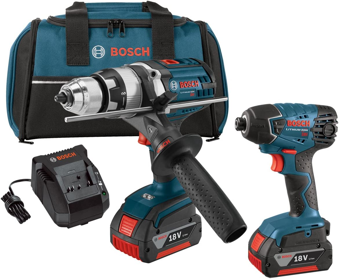 Bosch CLPK222-181 18-volt Lithium-Ion 2-Tool Combo Kit with 1 2-Inch Hammer Drill Driver and 1 4-Inch Hex Impact Driver