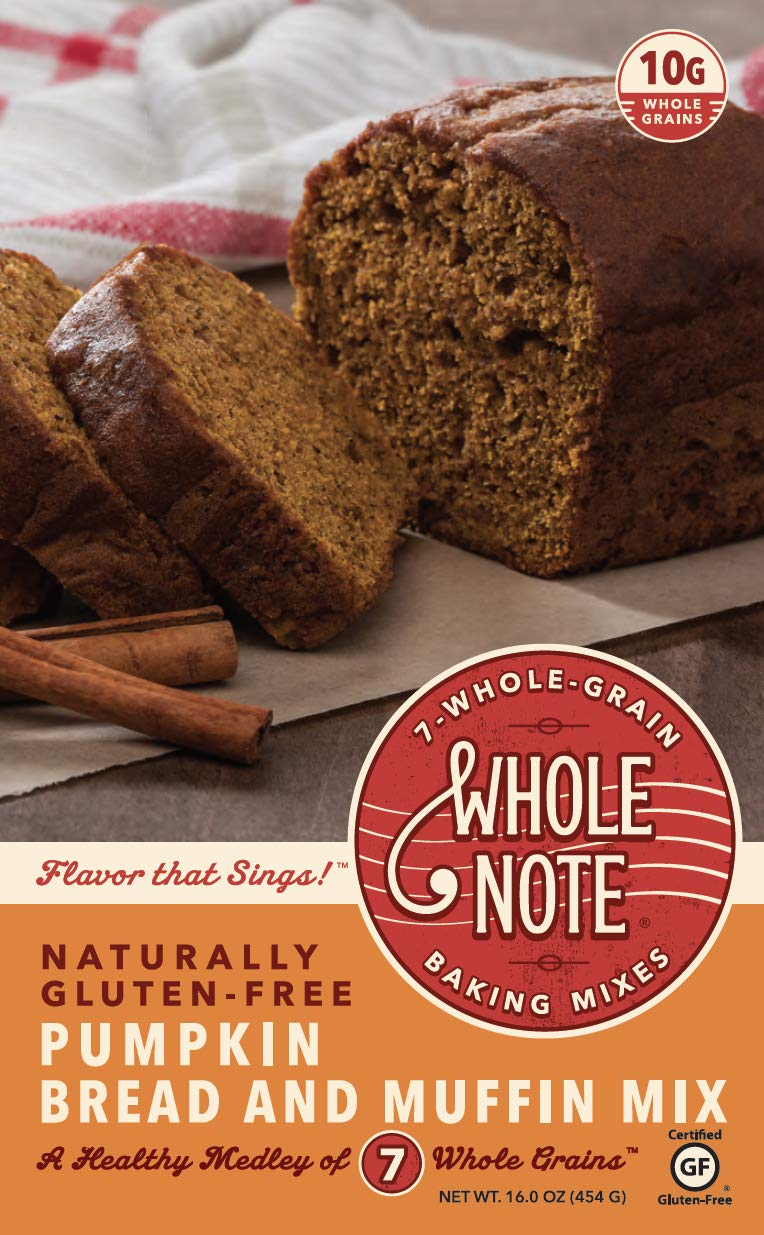 Whole Note Pumpkin Bread & Muffin Mix, 7-Whole-Grain and Naturally Gluten-Free (Pack of 3) by Whole Note