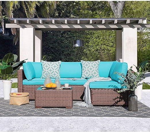 OC Orange-Casual Juego de Muebles de jardín de Mimbre para Exteriores, 5 Unidades, Color marrón y Turquesa: Amazon.es: Jardín