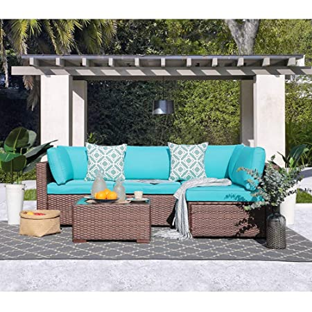 OC Orange-Casual 5 Piece Outdoor Rattan Sofa Set Couch Wicker Patio Furniture Set Garden Conversation Set, Brown Turquoise Cushion
