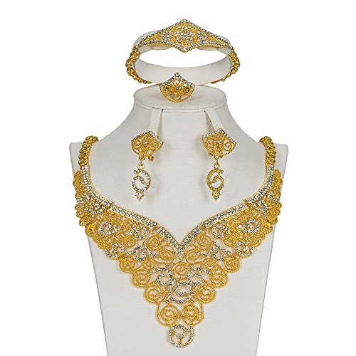 Amazon.com  MUKUN Wedding Gold Plated Jewelry Sets for Women ... f2bc297031