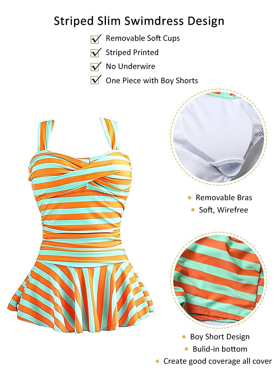 MiYang Womens One Piece Striped Slim Swim Dress Bathing Swimwear