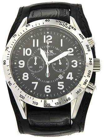 Ateliers italiennes Wrist Watch Montre chronographe Homme Caisse acier avec  cadran rond et bracelet cuir noir 48d64c1315d