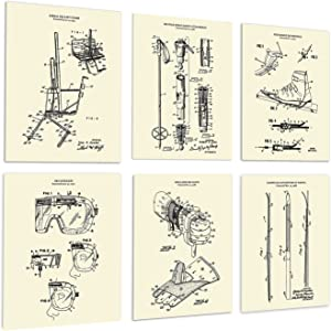 Ski Decorations for Home Set of 6 Unframed Skiing Wall Art Prints in Cream Color Patents_Ski_Crm6A
