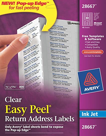 amazon com avery easy peel clear return address labels for inkjet