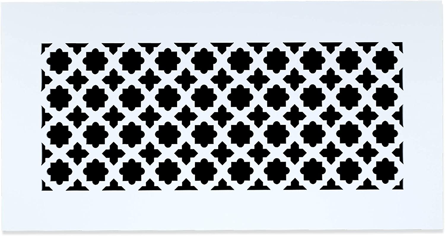 "Saba Register Cover Air Vent - Acrylic Plexiglass Grille 6"" x 10"" Duct Opening (8"" x 12"" Overall) White Finish Decorative Cover for Walls and Ceilings, not for Floor use, Venetian"