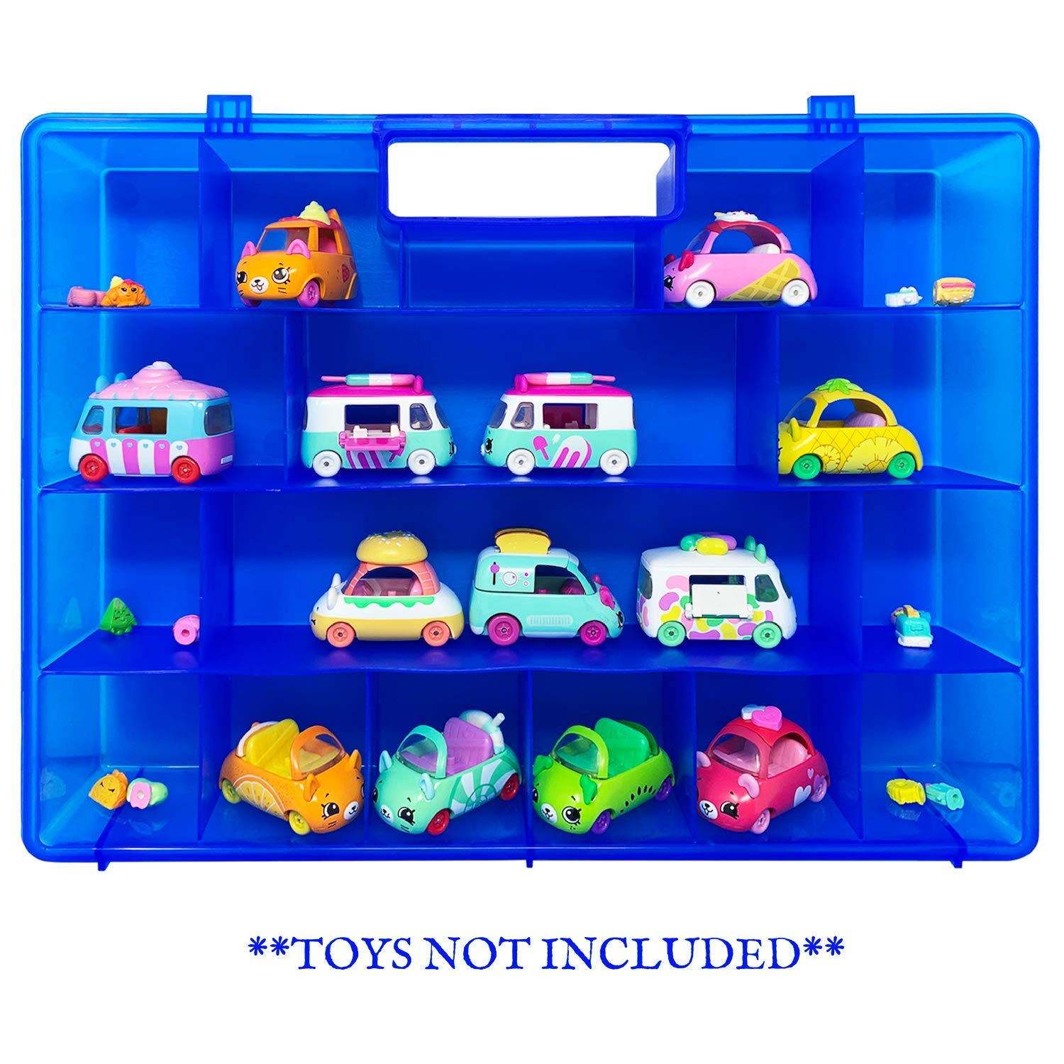 Compatible Carrying Case /& Toy Accessory for Shopkins Cutie Cars Not Created by Shopkins Life Made Better Blue Toy Storage Organization Box